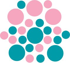 Set of 26 - TURQUOISE / PINK CIRCLES Vinyl Wall Graphic Decals Stickers shapes polka dots