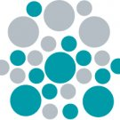 Set of 26 - TURQUOISE / SILVER METALLIC CIRCLES Vinyl Wall Graphic Decals Stickers shapes polka dots