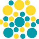 Set of 26 - TURQUOISE / YELLOW CIRCLES Vinyl Wall Graphic Decals Stickers shapes polka dots