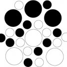 Set of 26 - WHITE / BLACK CIRCLES Vinyl Wall Graphic Decals Stickers shapes polka dots