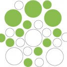 Set of 26 - WHITE / LIME GREEN CIRCLES Vinyl Wall Graphic Decals Stickers shapes polka dots