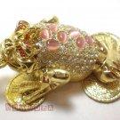 NEW Three legged toad Frog Rhinestone Trinket Jewelry jewel Box