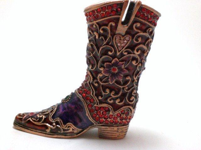 New Shoe Boot Rhinestone jewel pen holder Box Gift