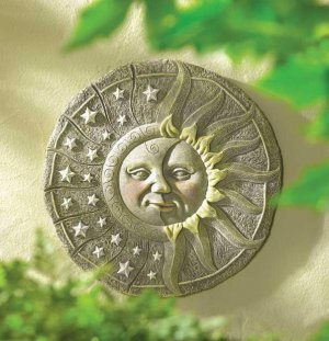 NIGHT AND DAY WALL PLAQUE GARDEN RETREAT SUN AND MOON WALL DECOR