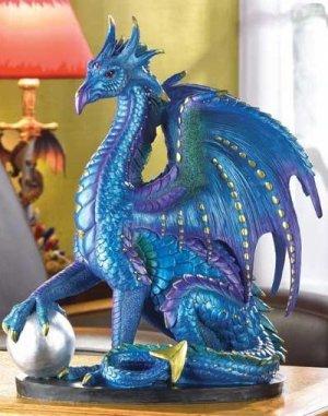LARGE BLUE DRAGON FIGURINE