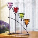 Beautiful Amber, Amethyst, Emerad , and Ruby Jewel Toned Candleholder Magical