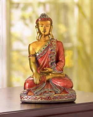 Seated Mediative Buddha Sculpture Adorned with Beautiful Gemstones