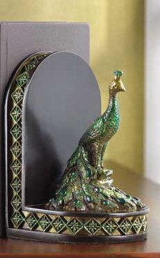 Jewel Toned Peacock Bookends Art  Noveau Period Gorgeous