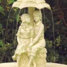 Romantic Outdoor Water Fountain Young Couple Caught in The Rain