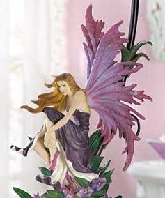 Gorgeous Winged Flower Fairy Lamp Stunning Violet Sunset Orchids