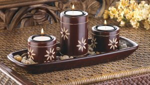 Tri Zen Candle Holder Tray Calming and Elegant