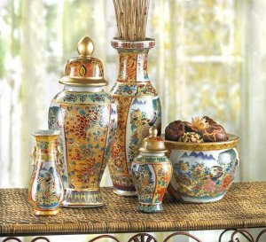 Vibrant Colored 5 Piece Asian Vase Ensemble Absolutely Stunning Elegent