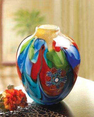 Handcrafted Colorful Floral Fantastia Art  Glass Vase