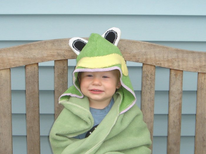 HOODED FLEECE FROG BLANKET