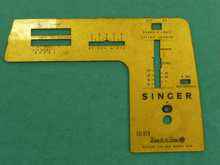 Singer 630 Touch & Sew Sewing Machine Stitch Indicator Face Plate