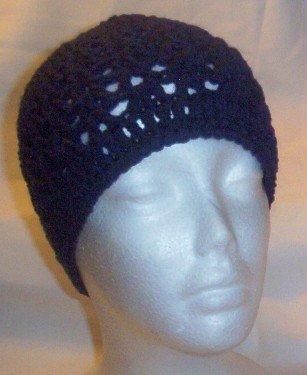 Hand Crochet ~ Ladies Skull Cap ~ Navy Blue