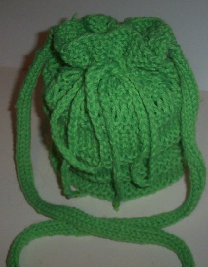 Hand Knit Ladies Lime Green Purse and matching Curly Scarf Set