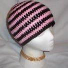 Hand Crochet ~ Sweet Skater Beanies ~ Pink and Black Stripes