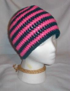 Hand Crochet ~ Sweet Beanies ~ Goth Hot Pink/Turquoise