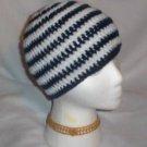 Hand Crochet ~ Sweet Skater Beanies ~ Dark Blue and White Stripes