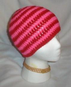 Hand Crochet ~ Sweet Beanie ~ Goth Hot Pink/Red Unisex