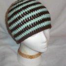 Hand Crochet ~ Sweet Beanie ~ Goth Brown/ Mint Unisex