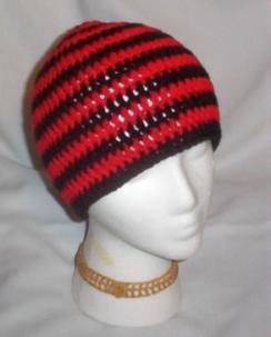 Hand Crochet ~ Sweet Skater Beanies ~ Black and Red Stripes