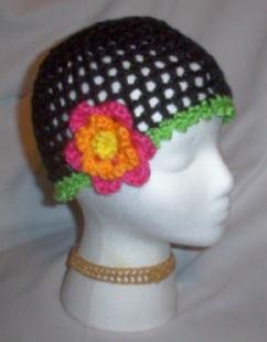 Hand Crochet Ladies Black Mesh Beanie with a Fushia Flower
