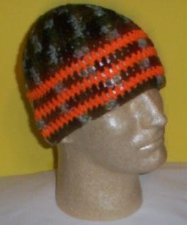 Hand Crochet ~ Sweet Beanie ~ Camo/Orange - Unisex