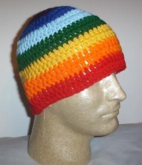 Hand Crochet ~ Sweet Beanie ~ Rainbow Stripes - Unisex