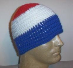 Hand Crochet ~ Sweet Beanie ~ Red/White/Blue A - Unisex