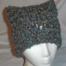 Hand Knit Cat Ears Hat Meooow - Teal Twist Boucle
