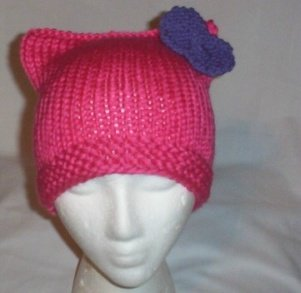 Hand Knit Cat Ears Hat Meooow - Hello Kitty Pink/Purple Bow