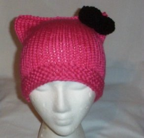 Hand Knit Cat Ears Hat Meooow - Hello Kitty Pink/Black Bow