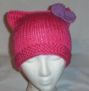 Hand Knit Cat Ears Hat Meooow - Hello Kitty Pink/Lavendar  Bow