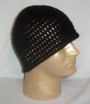 Hand Crochet ~ Men's Skull Cap Beanie Hat - Black