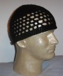 Hand Crochet ~ Men's Skull Cap Beanie Kufi Black