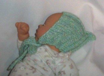 Hand Knit Baby lt Green Pixi Hat Newborn/6 months Ear