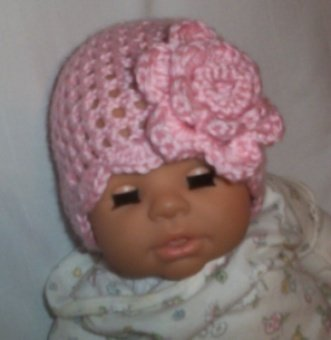 Hand Crochet Baby Pink Flowered Hat