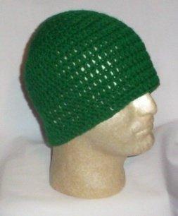 Hand Crochet ~ Men's Skull Cap Beanie Hat - Dark Green