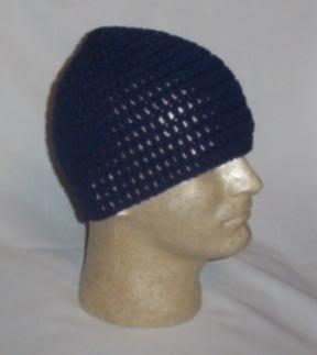 Hand Crochet ~ Men's Skull Cap Beanie Hat Navy Blue