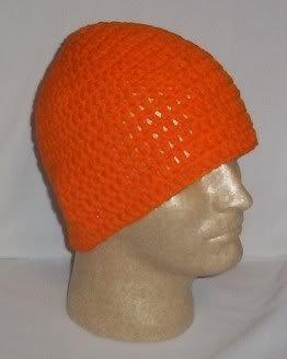 Hand Crochet ~ Men's Skull Cap Beanie Hat Hunter Orange