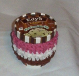 Hand Crochet Neopolitian Ice Cream Pint Cozie cozy Set/4