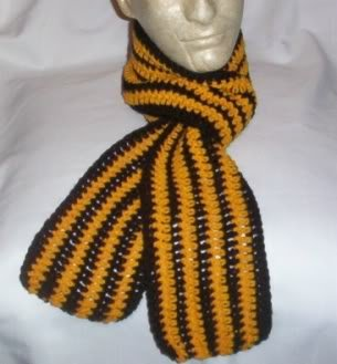 Hand Crochet ~ Steelers Scarf Black N Gold 5 X  64 long