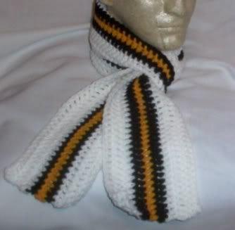 Hand Crochet ~ Steelers Scarf Black N Gold 5 X  58 long