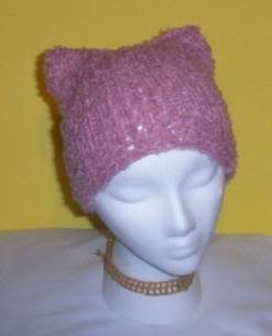 Hand Knit Kitty Kat Ears Hat Meooow - Soft Rose Boucle
