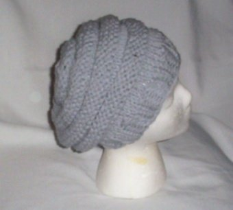 Hand Knit Slouchy Beehive Beret ~ Grey