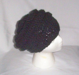 Hand Knit Slouchy Beehive Beret ~ Black