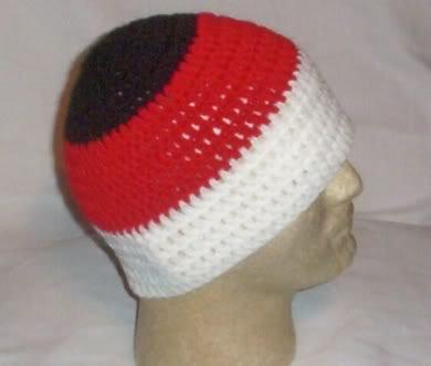 Hand Crochet ~ Men's Skull Cap Beanie Hat Red/Blk/Wht A