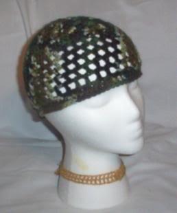Hand Crochet ~ Ladies Skull Cap ~ Camo - Kufi